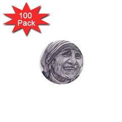 Mother Theresa  Pencil Drawing 1  Mini Magnets (100 Pack)