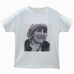 Mother Theresa  Pencil Drawing Kids White T Shirts