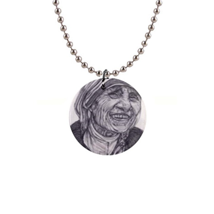 Mother Theresa  Pencil Drawing Button Necklaces