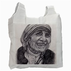 Mother Theresa  Pencil Drawing Recycle Bag (two Side)
