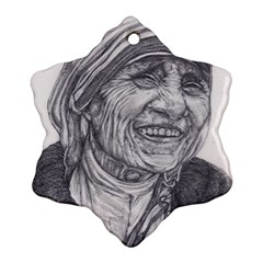 Mother Theresa  Pencil Drawing Ornament (snowflake)