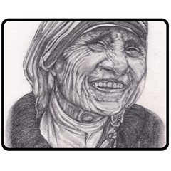 Mother Theresa  Pencil Drawing Double Sided Fleece Blanket (medium)