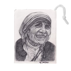 Mother Theresa  Pencil Drawing Drawstring Pouches (extra Large)