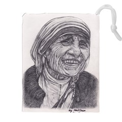 Mother Theresa  Pencil Drawing Drawstring Pouches (XXL)