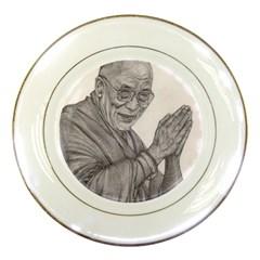 Dalai Lama Tenzin Gaytso Pencil Drawing Porcelain Plates