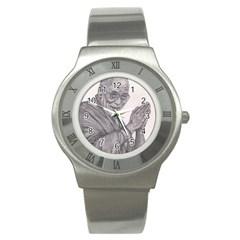 Dalai Lama Tenzin Gaytso Pencil Drawing Stainless Steel Watches
