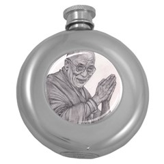 Dalai Lama Tenzin Gaytso Pencil Drawing Round Hip Flask (5 Oz)