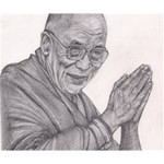 Dalai Lama Tenzin Gaytso Pencil Drawing Deluxe Canvas 14  x 11  14  x 11  x 1.5  Stretched Canvas
