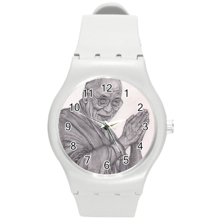 Dalai Lama Tenzin Gaytso Pencil Drawing Round Plastic Sport Watch (M)