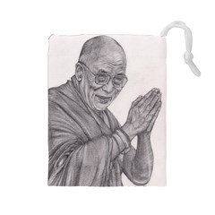 Dalai Lama Tenzin Gaytso Pencil Drawing Drawstring Pouches (large)