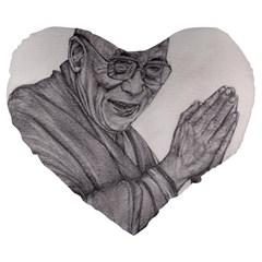Dalai Lama Tenzin Gaytso Pencil Drawing Large 19  Premium Flano Heart Shape Cushions
