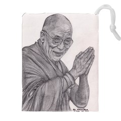 Dalai Lama Tenzin Gaytso Pencil Drawing Drawstring Pouches (XXL)