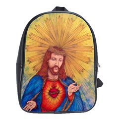 Scared Heart Of Jesus Christ Drawing School Bags(large)