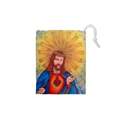 Scared Heart Of Jesus Christ Drawing Drawstring Pouches (XS)