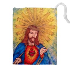 Scared Heart Of Jesus Christ Drawing Drawstring Pouches (xxl)