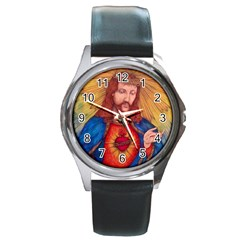 Sacred Heart Of Jesus Christ Drawing Round Metal Watches