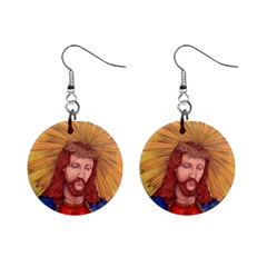 Sacred Heart Of Jesus Christ Drawing Mini Button Earrings