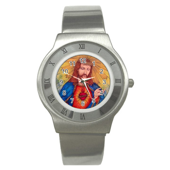 Sacred Heart Of Jesus Christ Drawing Stainless Steel Watches