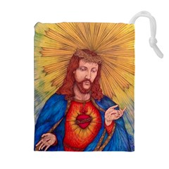 Sacred Heart Of Jesus Christ Drawing Drawstring Pouches (Extra Large)