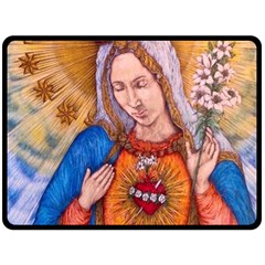 Immaculate Heart Of Virgin Mary Drawing Double Sided Fleece Blanket (large)