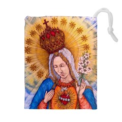 Immaculate Heart Of Virgin Mary Drawing Drawstring Pouches (Extra Large)