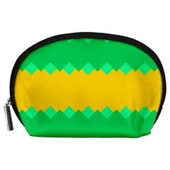 Green Rhombus Chains Accessory Pouch