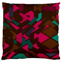 Brown Pink Blue Shapes 	large Flano Cushion Case (two Sides)