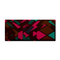 Brown Pink Blue Shapes hand Towel