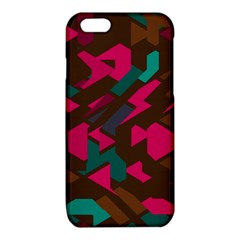 Brown pink blue shapes 			iPhone 6/6S TPU Case