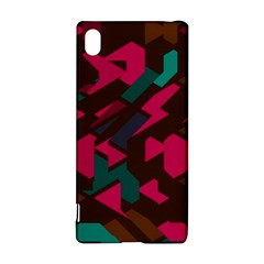 Brown pink blue shapes 			Sony Xperia Z3+ Hardshell Case
