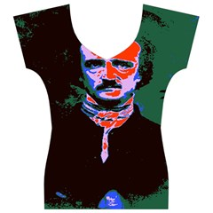 Edgar Allan Poe Pop Art  Women s V-Neck Cap Sleeve Top