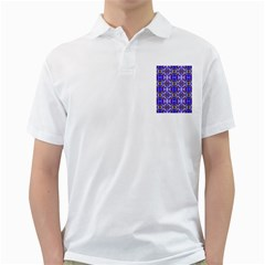 Blue White Abstract Flower Pattern Golf Shirts