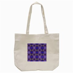 Blue White Abstract Flower Pattern Tote Bag (cream)