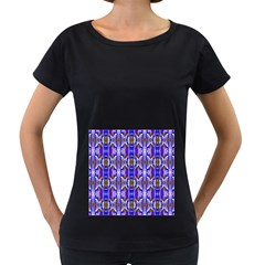 Blue White Abstract Flower Pattern Women s Loose Fit T Shirt (black)