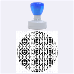 Blue White Abstract Flower Pattern Rubber Round Stamps (large)