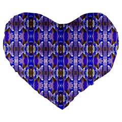 Blue White Abstract Flower Pattern Large 19  Premium Flano Heart Shape Cushions