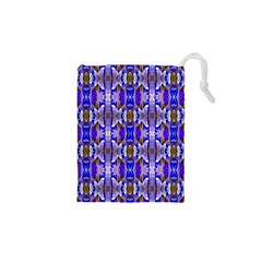 Blue White Abstract Flower Pattern Drawstring Pouches (XS)