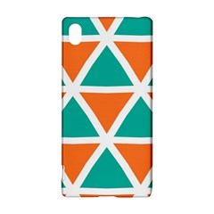 Orange Green Triangles Pattern 			sony Xperia Z3+ Hardshell Case