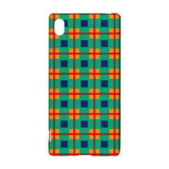 Squares in retro colors pattern 			Sony Xperia Z3+ Hardshell Case
