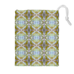 Beautiful White Yellow Rose Pattern Drawstring Pouches (Extra Large)