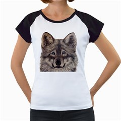 Wolf Women s Cap Sleeve T Shirt (white)