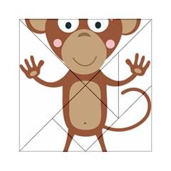 Female Monkey With Flower Acrylic Tangram Puzzle (6  X 6 )