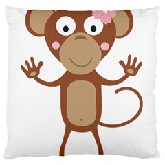 Female Monkey With Flower Standard Flano Cushion Cases (one Side)