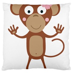 Female Monkey With Flower Large Flano Cushion Cases (two Sides)