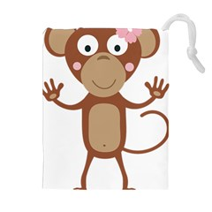 Female Monkey With Flower Drawstring Pouches (extra Large)
