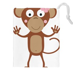 Female monkey with flower Drawstring Pouches (XXL)
