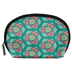 Pink Honeycombs Flowers Pattern  Accessory Pouch