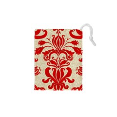 Ruby Red Swirls Drawstring Pouches (XS)