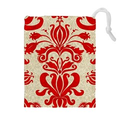 Ruby Red Swirls Drawstring Pouches (Extra Large)