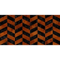 Chevron1 Black Marble & Brown Burl Wood You Are Invited 3d Greeting Card (8x4)
